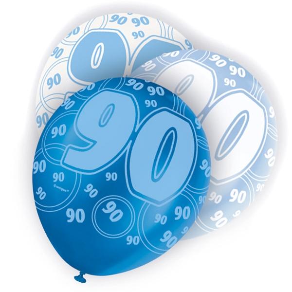 Latexballons zum 90sten Happy Birthday, blau-weiß, 30cm