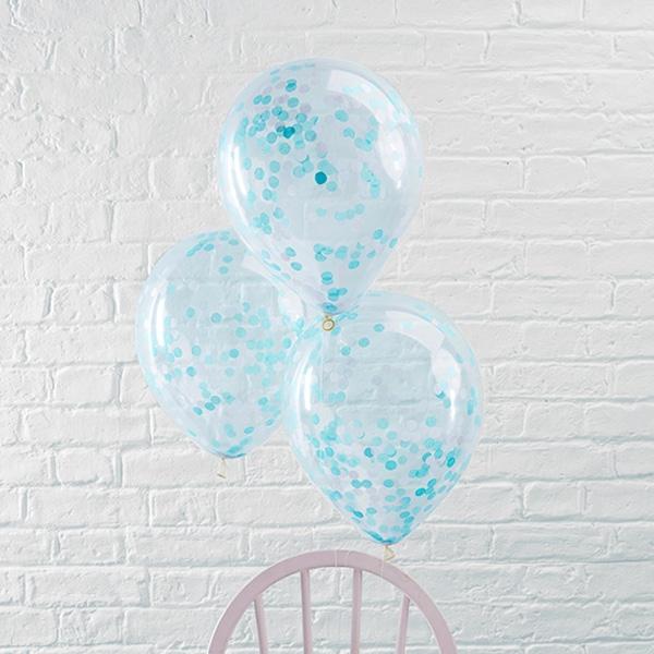 Konfetti-Ballons in Blau, 5 Stück, durchsichtige Ballons aus Latex