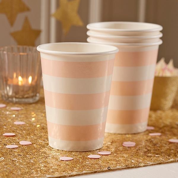 Partybecher rosa-weiß gestreift, 8 Stück, Pappe
