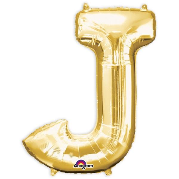 """Folienballon Buchstabe """"J"""" in Gold, 83 × 58 cm, für Namen der Jubilare"""