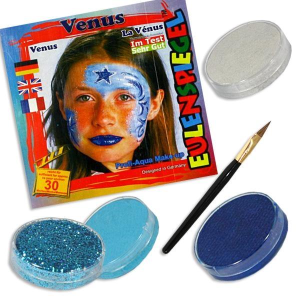 Kinderschminke-Set Venus Astrologie,ProfiAqua,3Farben+1xGlitzer+Pinsel