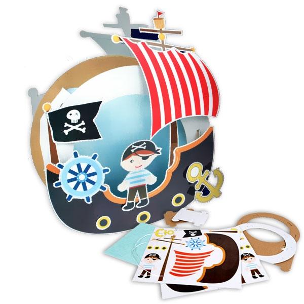 Laternen Bastelset Piratenschiff mit viel Bastelzubehör und Anleitung