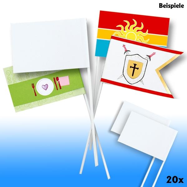 Papierfähnchen DIN A6, Stablänge 30cm, 20 Stück, weiß, zum Bemalen