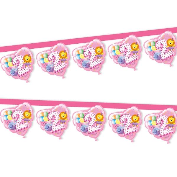 2. Geburtstag Mädchen, Girlande, 1 Stück,  2,20 m