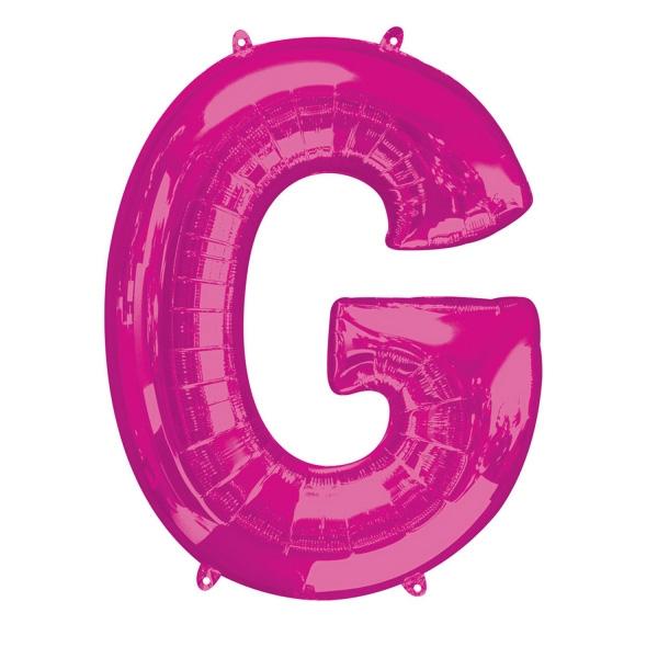 """Folienballon Buchstabe """"G"""" in Pink für persönliche Sprüche, 81×63cm"""