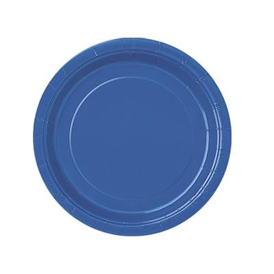 Pappteller einfarbig blau, 8er, 18cm, runde Einwegteller für alle Partys