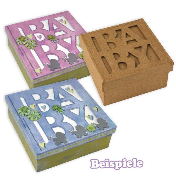 Passepartout-Box Baby, niedliche Geschenkbox zu Babyparty, 8×8x4cm