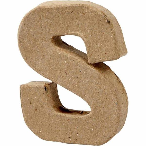 S Buchstabe, handgearbeitet aus Pappe, zum Bemalen/Bekleben, ca. 10 cm