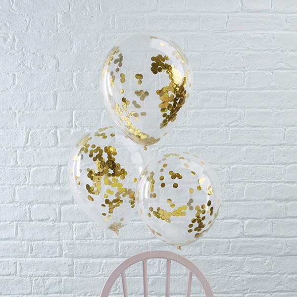 Konfetti-Ballons in gold, 5 Stück, durchsichtige Ballons aus Latex