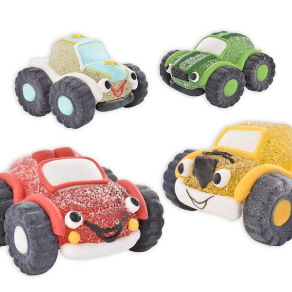 Geländewagen Zuckerfiguren Set, 4 Stück aus Zucker & Gelee