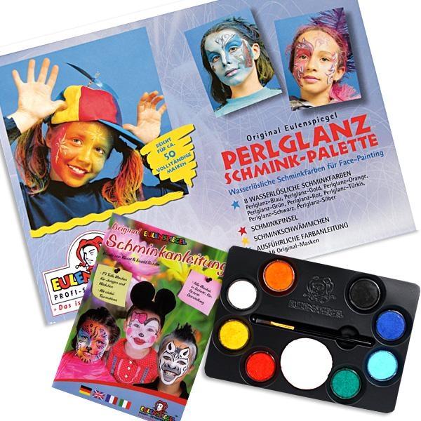 Perlglanz Schminkpalette mit 8 Schminkfarben, Pinsel, Schwamm und ausführl. Schminkanleitung, 19 Motive