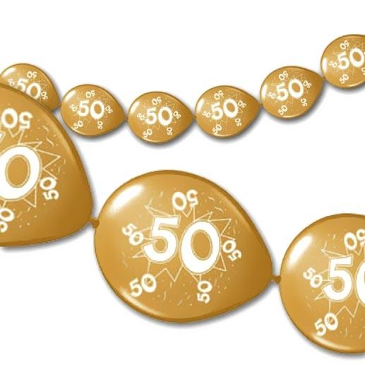 8 Kettenballons in Gold-Metallic mit 50 für Goldhochzeit, 3m