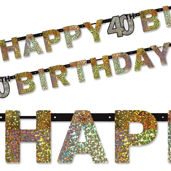 Sparkling Celebr. Golden Zahl 40 Happy Birthday, 2,13m