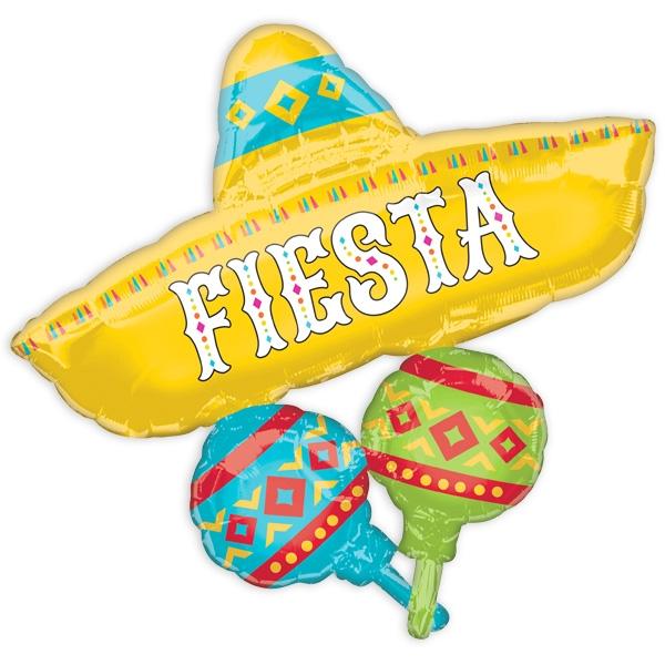 "Folienballon ""Sombrero & Maracas"", 78cm x 81cm, 1 Stk."