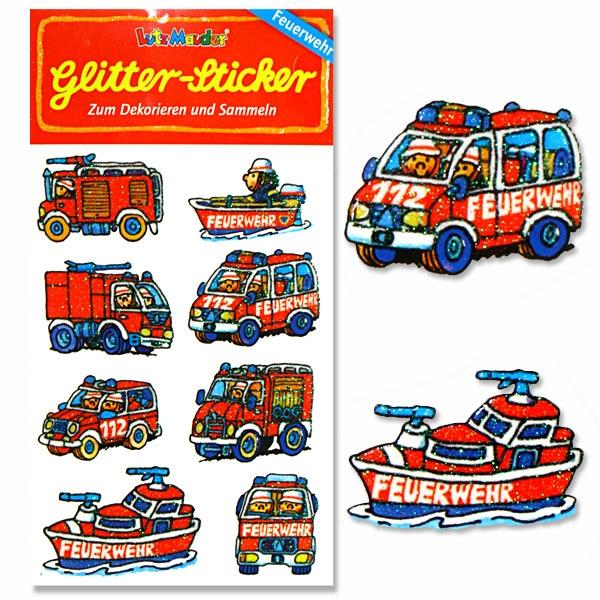 Glitzersticker Feuerwehr, 1 Karte, 8 tolle Feuerwehren, 10,5x5,6cm