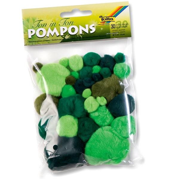 Pompons, 30 Stück, grün sortiert, mehrere Größen, hell und dunkel