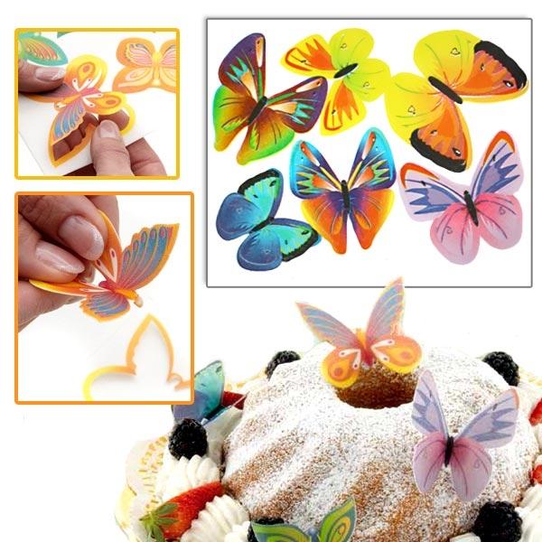 Schmetterlinge aus Oblaten 12 Stk., essbare Fooddeko, 5-7 cm groß
