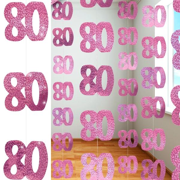 Glitzer-Spiralen, Zahl 80, in Pink, 6-teilig