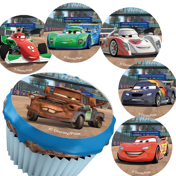Muffinaufleger mit Rennautos 12er, flexibles Zuckerblatt für Carsparty