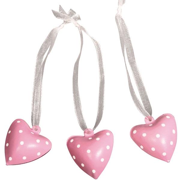 Glöckchen-Herzen pink im 6er Pack als Geschenkanhänger für Mädchen