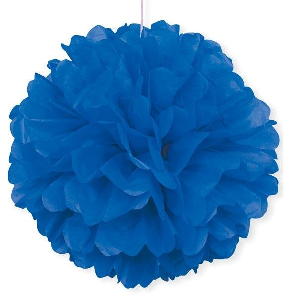 Puffball in Blau mit Band zum Befestigen, 1 blauer Pompom, 40cm