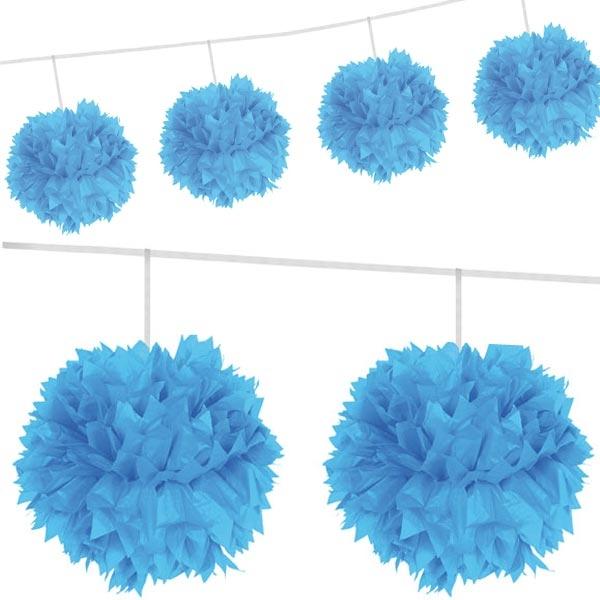 Girlande mit 4 Pompons, blau, flauschige Puffbälle aus Papier, 3m