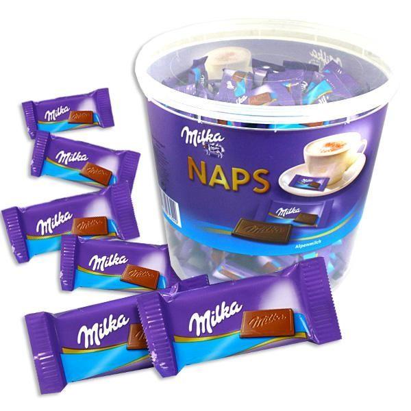 Milka Naps - 207 leckere Milka-Alpenmilch Schokoladen-Tafeln in der 1 kg Box, süße Mitgebsel