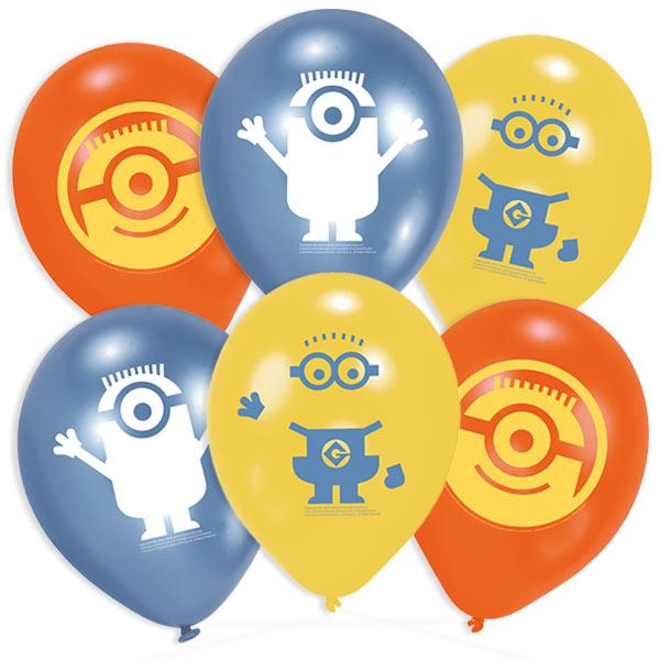 6 Minions Latexballons, 22,8cm