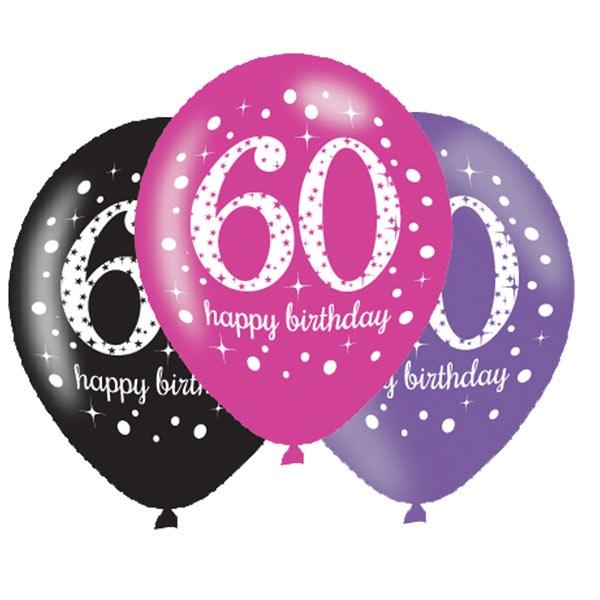 Luftballons zum 60. Geburtstag, 6 Stk, 27,5cm