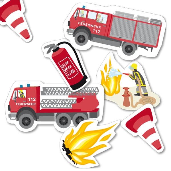 Feuerwehr Tischkonfetti 24tlg 5-9cm, Streudeko für Feuerwehrgeburtstag