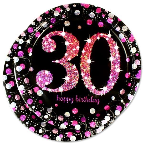 Sparkling Celebr. Glitzerteller 8er Pack, 23cm, pink-schwarz