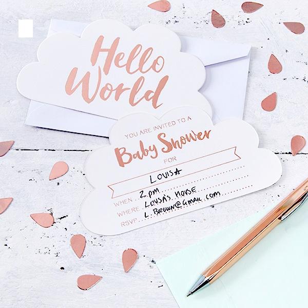 """""""Hello World"""" Einladungskarten, 10er Pack, mit Umschlägen"""