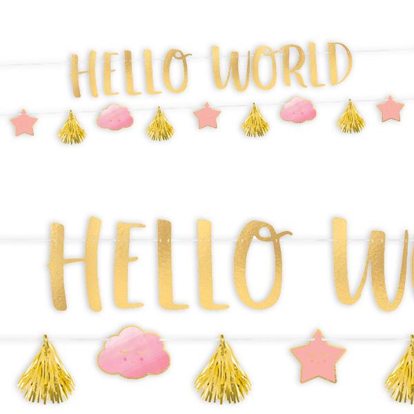 """Girlanden-Set """"Hello World"""" in rosa und gold, 2-teilig"""