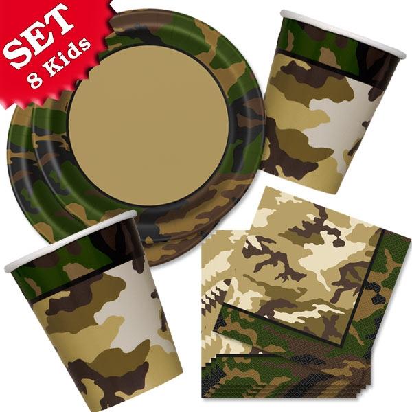 Basic Set Camouflage Tarnfarbenparty, 32-tlg. Themenset für 8 Kinder