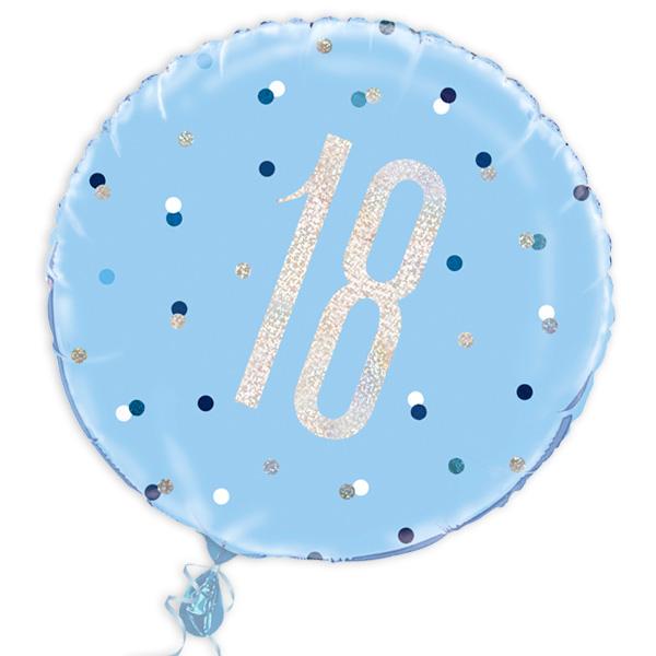Folienballon rund +Zahl 18, prismat. blau, 35cm