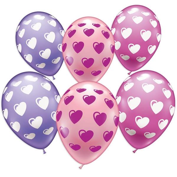 Süße Herzen, Ballons im 6er Pack, zum Valentinstag