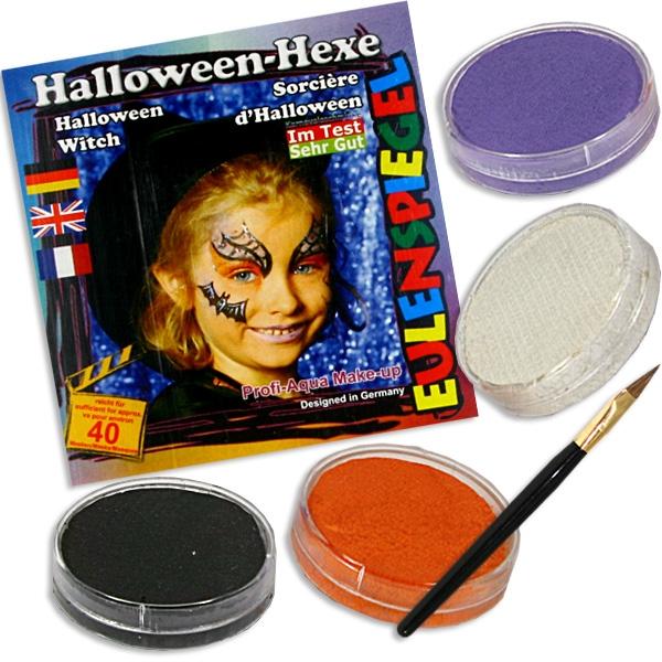 Kinderschminke-Set coole Halloween Hexe, Profi-Aqua,4 Farben+Pinsel