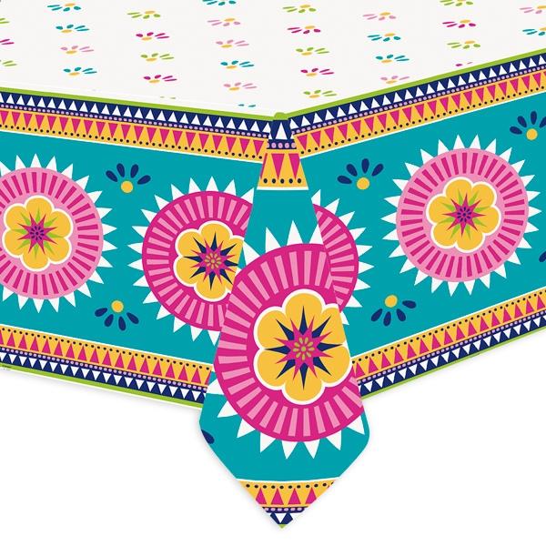 """Tischdecke """"Fiesta"""", 1,37m x 2,13m mit mexikanischem Muster aus Folie"""