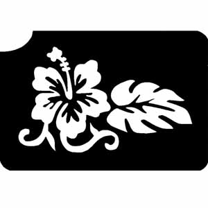 Zauberhafte Hibiscus Tattooschablone, schönes Blumentattoo 5,4x7,5cm