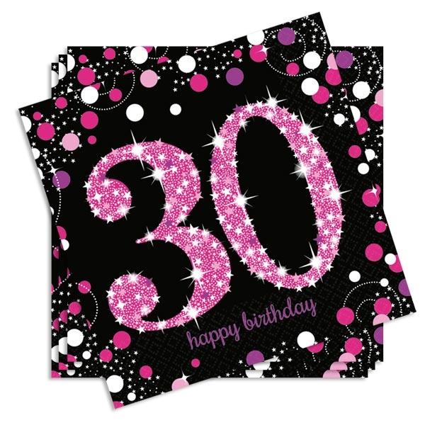 Sparkling Celebr. Servietten zum runden 30. Geburtstag, 16er