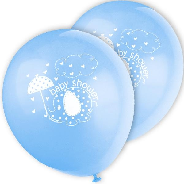 Ballons blauer Elefant im 8er Pack, für Baby Shower Partydeko, 30cm