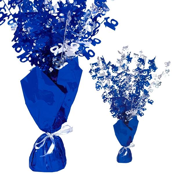 """Ballongewicht  Zahl """"16""""-Tischdeko, metallic blau"""