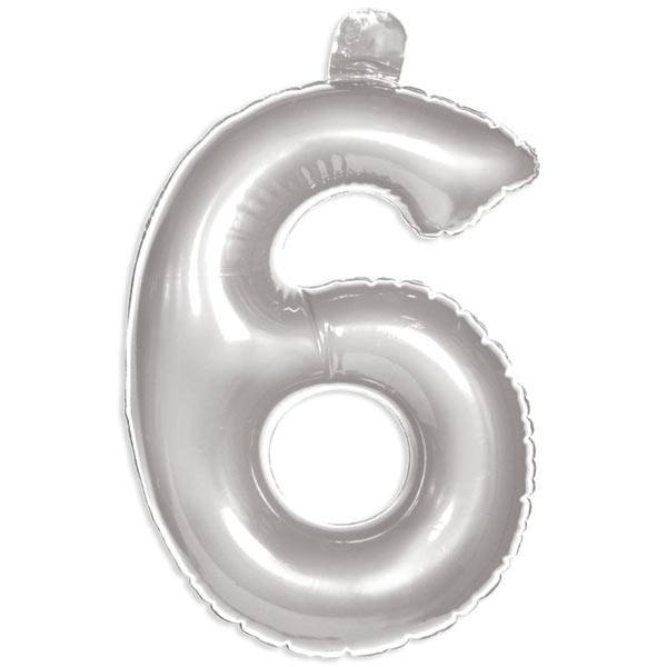 Zahl 6 als aufblasbarer Infletter mit Ventil, silbern, 35cm