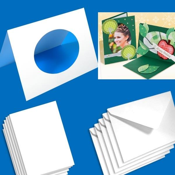Passepartoutkarten 10er Pack, 250g, ovaler Ausschnitt, zum Gestalten, weiss