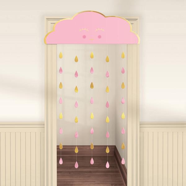 """Türvorhang """"Baby Wolke"""", in rosa und gold, 1 Stk."""