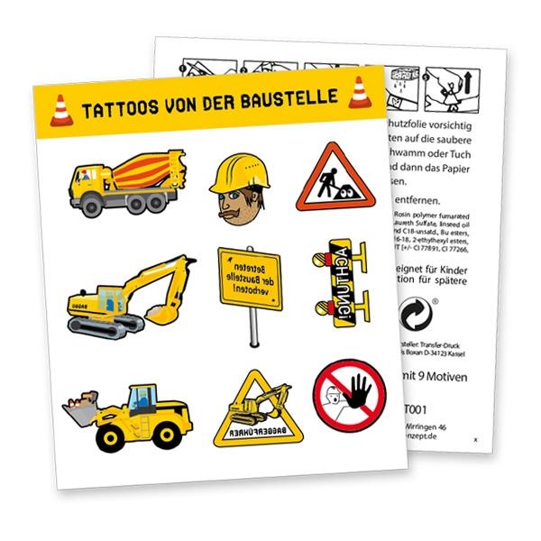 """Tattoobogen """"Baustelle"""" mit 9 Tattoos"""