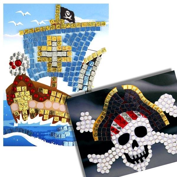 Strass-Totenkopf-Mosaik im 2er Pack für Piratenschiff und Piratenflagge