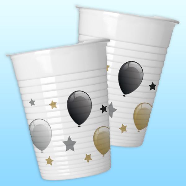 Meilensteine Sterne Plastikbecher, 8 Stk., 200ml