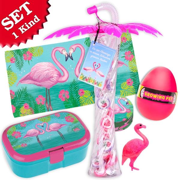 Geschenkset Flamingo, für 1 Kind, 4-tlg Mitgebsel Kindergeburtstag