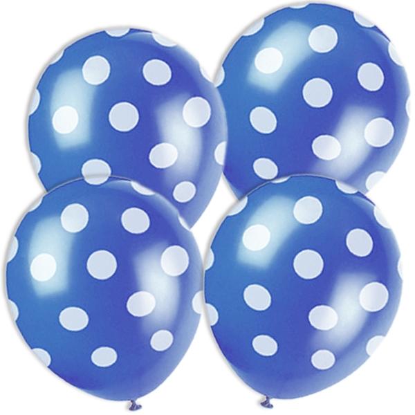 blaue Ballons mit weißen Punkten, 6 Latexballons für Dekoration, 30cm